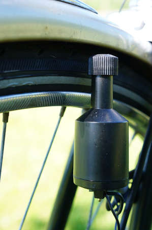 dynamo: Close-up of a bicycle dynamo Stock Photo