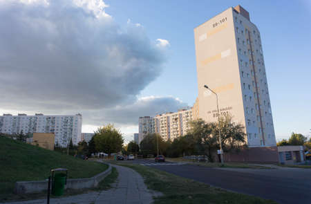 rentals: POZNAN, POLAND - SEPTEMBER 29, 2015: High apartment block at the Orla Bialego area