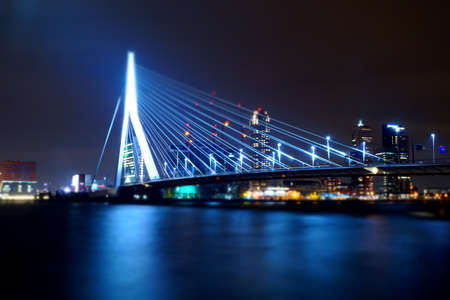 rotterdam: The Erasmusbrug in Rotterdam in the night