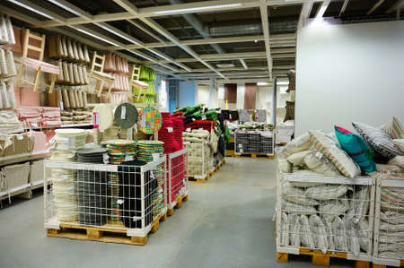 furniture store: POZNAN, POLAND - NOVEMBER 24, 2013: Pillows and accessory for sale in a Ikea furniture store