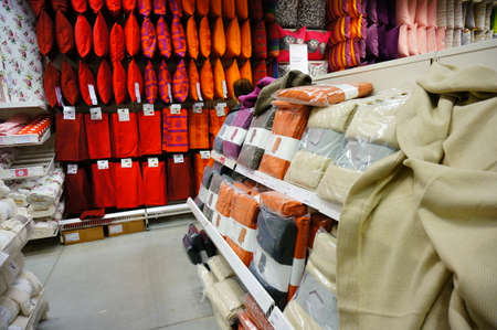 ikea: POZNAN, POLAND - NOVEMBER 24, 2013: Variation of bed sheets for sale in a Ikea furniture store