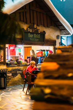 Kownaty, Poland - January 6, 2019: Woman ordering at the Bar Heidi stand in the Majaland attraction park.