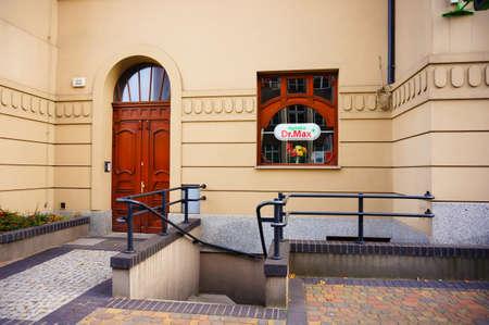 Poznan, Poland - November 1, 2018: Dr. Max pharmacy shop front entrance in the city center.
