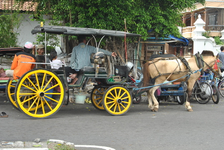 Andong is one of the means of transportation that is still on guard sustainability in yogyakarta, in addition to transport goods andong also in use as a tour for the city of Yogyakarta Фото со стока - 80217415