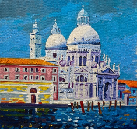 Original oil paintings on canvas  View of beautiful Venice  photo
