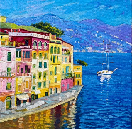 Original oil paintings on canvas  Beautiful view from Portofino   Stock Photo - 19541220