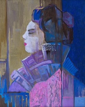 Original oil paintings on canvas Beautiful geisha in profile Reklamní fotografie