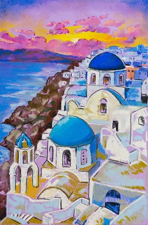 Original pastel paintings on cardboard  Beautiful view of Santorini at sunset  Stock Photo - 19564187