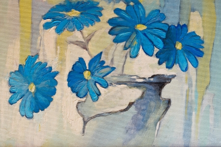 nuances: Original oil paintings on canvas   Beautiful flowers in blue