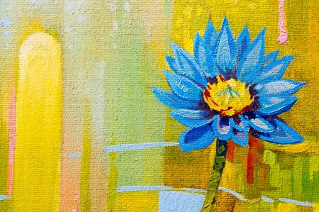 nuances: Original oil paintings on canvas  Lily in blue  Stock Photo