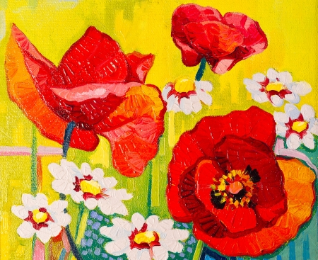 nuances: Original oil paintings on canvas  Beautiful poppies in a field