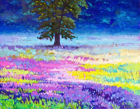 Original oil paintings on canvas. Beautiful tree in a field of lavender. photo