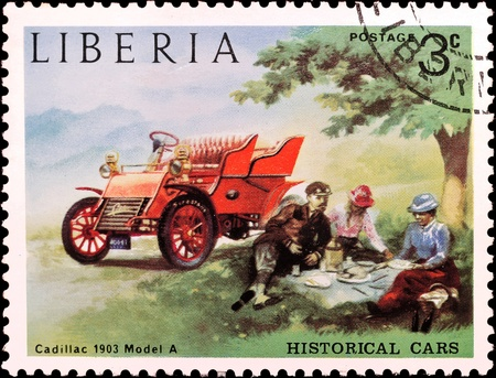 jalopy: LIBERIA - CIRCA 1982  Liberia Canceled postage stamp depicting Cadillac Model A, series Historical cars  Circa 1982