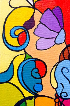 abstract paintings: Original oil paintings on canvas. Flower - abstract.