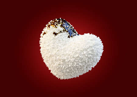 Heart shaped coconut candies covered chocolate syrup, isolated. 3D Illustration