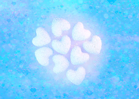 Heart shaped coconut candies, romantic background. 3D Illustration