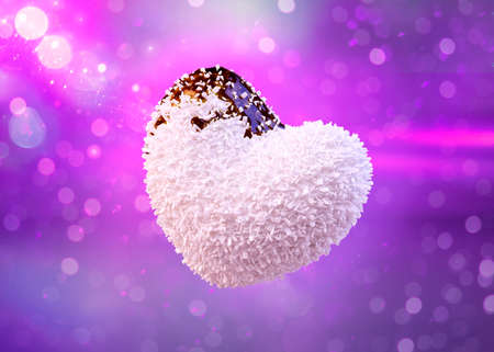 Heart shaped coconut candies covered chocolate syrup, valentines day background. 3D Illustration Stock Photo