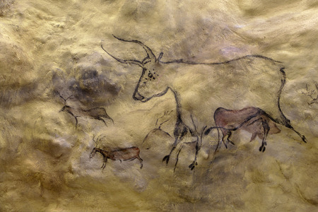 ice age: Approximate reproduction based on primeval cave paintings  artificial cave in Ice Age Museum in Estonia