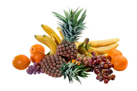 assemblage: assemblage of fruits isolated on white