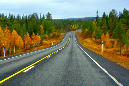 Highway to Lapland in northern part of Finland  photo