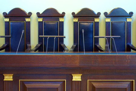Fragment of empty court room with vintage furniture  Imagens