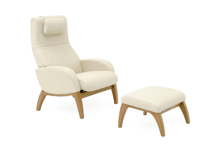 Light-beige natural leather armchair with leg rest  photo