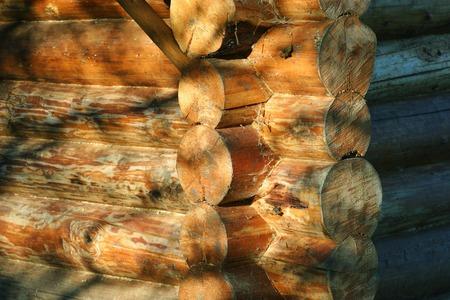 Corner of a log cabin illustrating constructing method