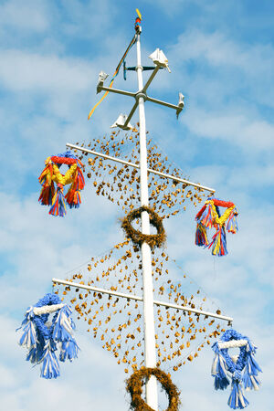 midsummer pole: One of the maypoles typical for Aland Islands; celebration of midsummer day in villages  Stock Photo