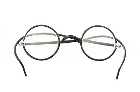 stilish: Folded round eyeglasses isolated on white background  Stock Photo