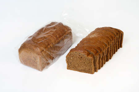 unpacked: brown bread packed and unpacked, isolated on white Stock Photo