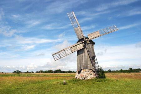 A lonely restored nonworking windmill on island of Abruka in Estonia.