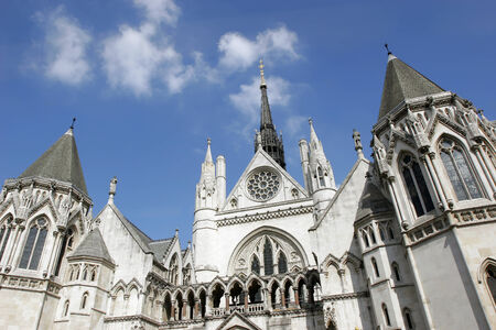 The facade of Royal Courts of Justice in London.
