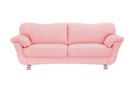 Pink leather sofa, isolated on white.