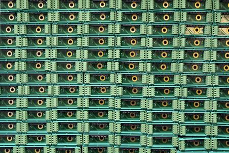 heaped: Electronics parts heaped in warehouse. Stock Photo