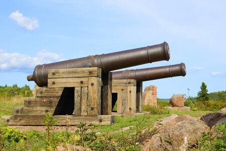 stronghold: Cannons in historical Russian stronghold area in Bomarsund, Aland Islands.