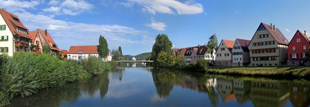 Historical city Rottenburg (southern part of Germany, in state of Baden-W?rttemberg, official name is Rottenburg am Neckar) and river Neckar in midsummer. Founded by Romans about 19 centuries ago.