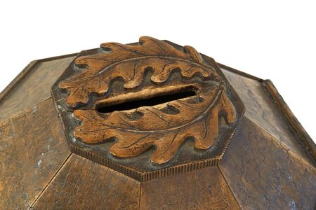 ecclesiastical: Decorated vintage wooden alms box top (ecclesiastical usage).