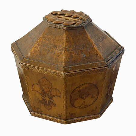 approx: Ancient sacred alms box made of oakwood (height approx. 40 cm).