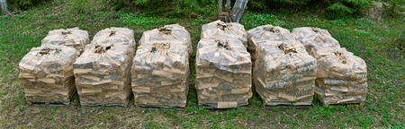 transported: Firewood in packaging net transported to home yard. Stock Photo