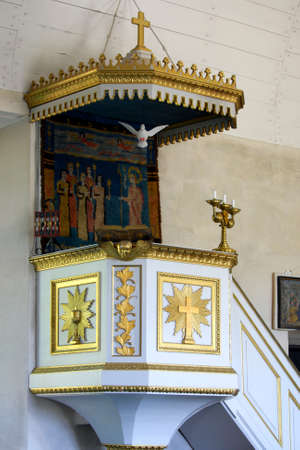 preach: Ancient wooden pulpit in Geta Church, Aland Islands, Finland. Stock Photo