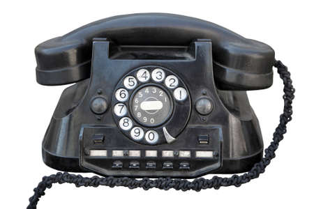 telephone: Front view of a black vintage telephone, isolated on white.