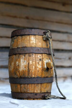 meant: Approximately one hundred years old small cask  height circa 60 cm,  meant for beer or mead. Stock Photo