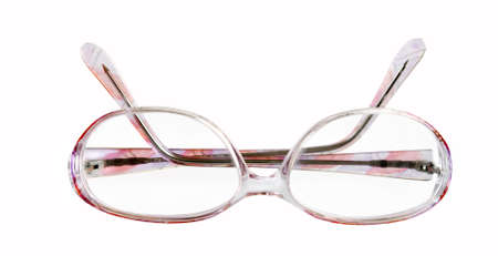 bifocals: Eyeglasses in folded state, isolated on white.