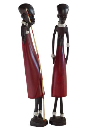 wood carvings: African figurines, stylized wood carvings height approx 25 cm.