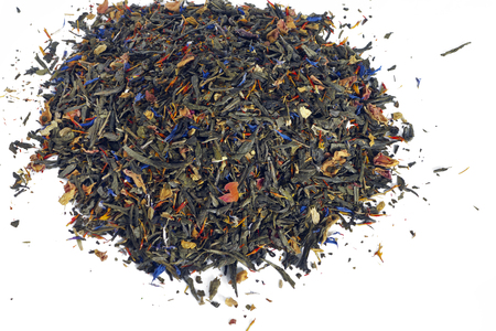 flavoured: Heap of flavoured green tea without sugar or artificial sweeteners on white background.
