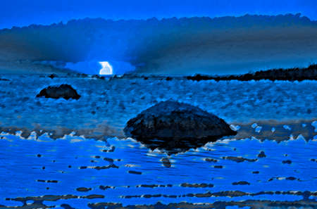 manipulated: Blue sunset at seashore, digitally manipulated from authors original file.