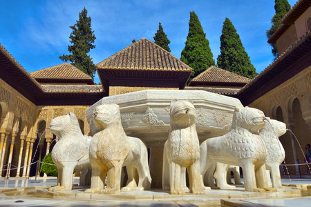 Lion Fountain in Alhambra palace, Granada, Spain.