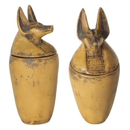 travel mug: Jackal - headed practical souvenir vessels height approx 20 cm from Egypt. Possible usage for herbs etc. food ingredients.
