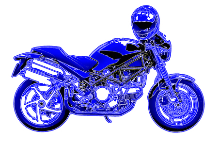 crash helmet: Night motorbike with crash helmet, digitally filtered.
