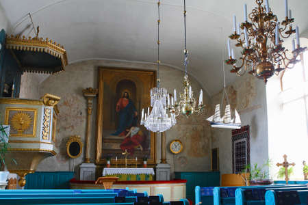 Ecker Parish Church Interior In Kyrkoby, Aland Islands. Stock Photo ...